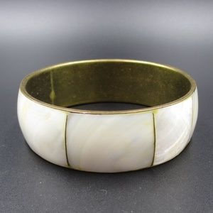 Vintage Cute Shell Inlay Elegant Bangle Bracelet